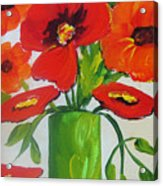 Orange Flowers In Lime Green Vase Acrylic Print