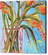 Orange Gladiolus In Vase Acrylic Print