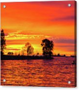 Orange Glow Sunset At Sunset Beach In Vancouver Bc Acrylic Print