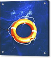 Orange Life Buoy In Blue Water Acrylic Print