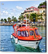 Orange Lifeboats Across Colorful Bay Acrylic Print