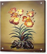 Orange Orchid Flowers Acrylic Print