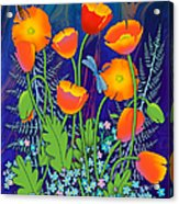 Orange Poppies And Forget Me Nots Acrylic Print