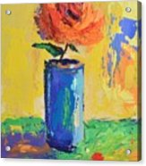 Orange Rose With Yellow Background Acrylic Print