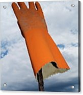 Orange Rubber Glove On A Wooden Post Against A Cloudy Sky Acrylic Print