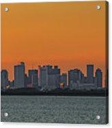 Orange Sky During Sunset With The Boston Skyline Acrylic Print