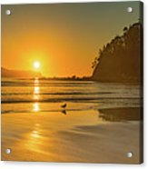 Orange Sunrise Seascape And Beach Acrylic Print