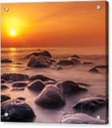 Orange Sunset Long Exposure Over Sea And Rocks Acrylic Print