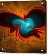 Orange Swirl With Blue Acrylic Print