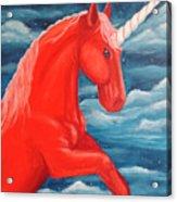 Orange Unicorn Acrylic Print