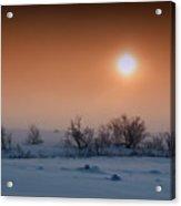 Warm Winter Sun Snow Duel Acrylic Print