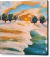Oranges In The Snow-landscape Painting By V.kelly Acrylic Print by Valerie Anne Kelly