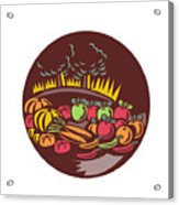 Orchard Crop Harvest Circle Woodcut Acrylic Print