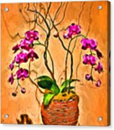 Orchids In Basket Acrylic Print