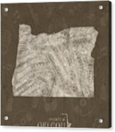 Oregon Map Music Notes 3 Acrylic Print