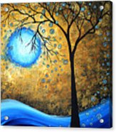 Orginal Abstract Landscape Painting Blue Fire By Madart Acrylic Print
