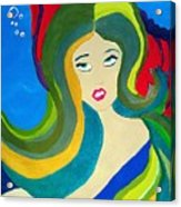 Japanese Mermaid Bubbles  Acrylic Print