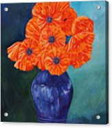 Oriental Poppies In Blue Acrylic Print