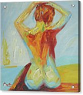 Original Abstract Oil Painting Female Nude Girl On Canvas#16-2-5-06 Acrylic Print