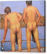 Original Oil Painting Art Male Nude Gay Interest Boy Man On Linen#16-2-5-12 Acrylic Print