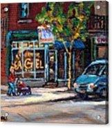 Original Art For Sale Montreal Petits Formats A Vendre Boulangerie St.viateur Bagel Paintings  Acrylic Print