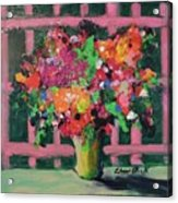 Original Bouquetaday Floral Painting By Elaine Elliott 59.00 Incl Shipping 12x12 On Canvas Acrylic Print