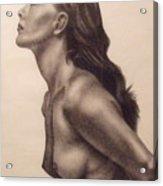 Original Charcoal Nude Female Profile Study Acrylic Print by Neal Luea