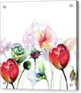 Original Floral Background With Flowers Acrylic Print