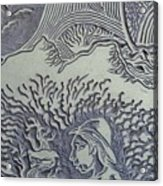 Original Linoleum Block Print Acrylic Print