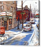 Original Montreal Paintings For Sale Tableaux De Montreal A Vendre Pointe St Charles Scenes Acrylic Print