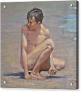 Original Oil Painting Art Male Nude Gay Boy On Linen#16-2-5-09 Acrylic Print