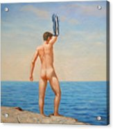 Original  Oil Painting Gay Art Male Nude By Body On Canvas#16-2-5-011 Acrylic Print