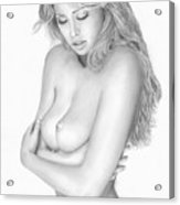 Original Pencil Drawing Beach Babe Www.olgabell.ca Acrylic Print