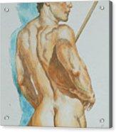 Original Watercolor Painting Art Male Nude Men On Paper #12-25-02 Acrylic Print