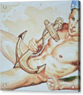 Original Watercolor Painting Artwork Sailor Male Nude Man Gay Interest On Paper #9-015 Acrylic Print