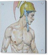 Original Watercolor Painting Male Nude Man #17511 Acrylic Print