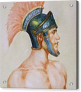 Original Watercolour Painting Art Male Nude Portrait Of General  On Paper #16-3-4-19 Acrylic Print