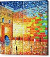 Original Western Wall Jerusalem Wailing Wall Acrylic 2 Panels Acrylic Print