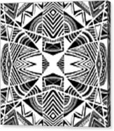 Ornamental Intersection - Abstract Black And White Graphic Drawing Acrylic Print
