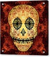 Ornate Floral Sugar Skull Acrylic Print