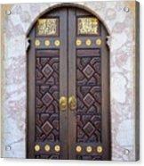 Ornately Decorated Wood And Brass Inlay Door Of Sarajevo Mosque Bosnia Hercegovina Acrylic Print
