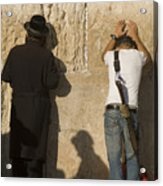 Orthodox Jew And Soldier Pray, Western Acrylic Print
