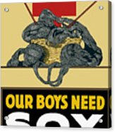 Our Boys Need Sox - Knit Your Bit Acrylic Print by War Is Hell Store
