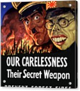 Our Carelessness - Their Secret Weapon Acrylic Print by War Is Hell Store