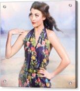 Outdoor Fashion Portrait. Spring Twilight Beauty Acrylic Print