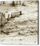 Outer Banks Beach Sand Fence  Acrylic Print