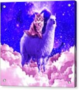 Outer Space Galaxy Kitty Cat Riding On Llama Acrylic Print