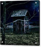 Outhouse In The Moonlight With Flying Crows Acrylic Print