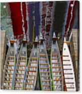 Outrigger Canoe Boats And Water Reflection Acrylic Print by Ben and Raisa Gertsberg