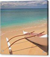 Outrigger On Beach Acrylic Print